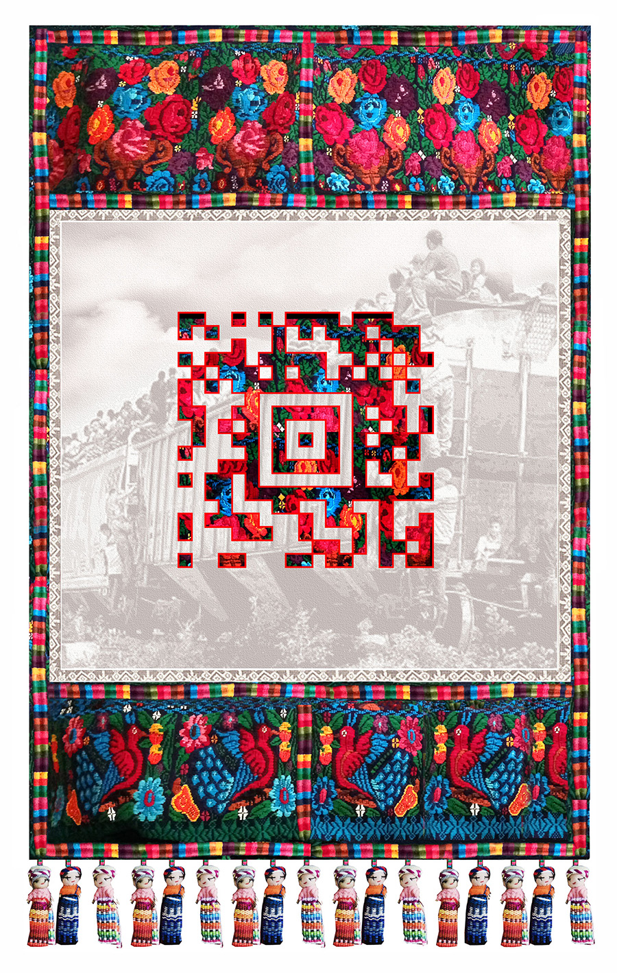 """La Bestia, 2017 M/M on textile, with QR Code and audio file Done in conyunction with Xela AID 60"""" H x 40"""" W."""