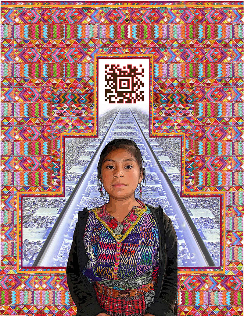 """The Mayan Girl, 2017 M/M on textile, 32"""" x 22"""", Limited Edition, Done in conyunction with Xela AID"""
