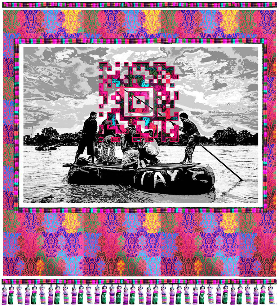 """The Raft, 2017 M/M on textile, with QR Code and video file Done in conyunction with Xela AID 50"""" H x 40"""" W."""
